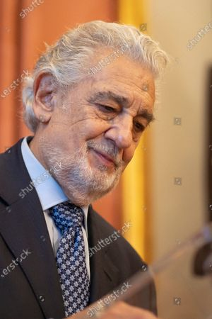 Stock Picture of The tenor Placido Domingo and Marta Ornelas receives the title of 'Honorary Ambassador of the World Heritage of Spain', on 10 June, 2021 at the Teatro Real, Madrid, Spain.