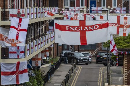 Kirby Estate England flags ahead of the European Championship, London