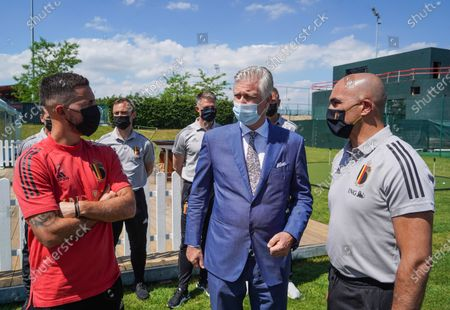 King Philippe visits football training camp, Brussels