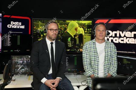 Formula One journalist Canal Plus, Julien Febreau and the consultant, Jacques Villeneuve comment during the Baku GP (Azerbaijan), at Boulogne near Paris, France, On 06 June 2021. Exclusive agency