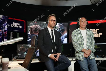 Formula One journalist Canal Plus, Julien Febreau and the consultant, Jacques Villeneuve comment during the Baku GP (Azerbaijan), at Boulogne near Paris, France, On 06 June 2021.