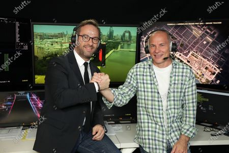Formula One journalist Canal Plus, Julien Febreau and the consultant, Jacques Villeneuve poses before the Baku GP (Azerbaijan), at Boulogne near Paris, France, On 06 June 2021.