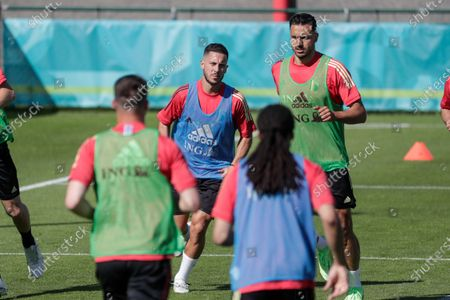 Eden Hazard of Belgium (L) and Nacer Chadli of Belgium attend a training session as part of the preparations for EURO 2020 in Tubize, Belgium, 10 June 2021. The UEFA EURO 2020 soccer tournament will be held from 11 June to 11 July 2021.