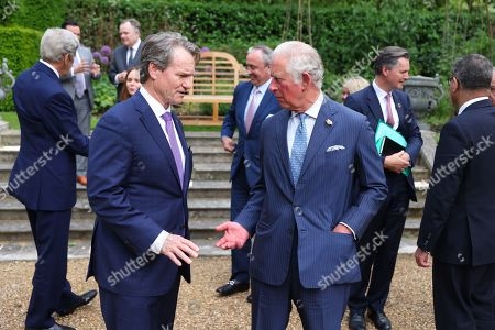 Stock Photo of CEO of Bank of America, Brian Moynihan speaks with Prince Charles at St James Palace.