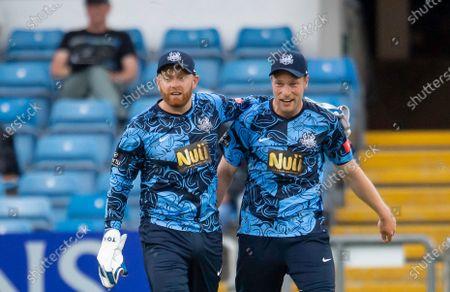 Yorkshire's Jonny Bairstow & Matthew Waite after Bairstow takes a catch to dismiss Birmingham's Tim Bresnan.