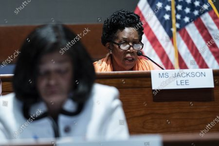 Rep. Sheila Jackson Lee, D-TX, questions FBI Director Christopher Wray during a House Judiciary Committee hearing at the U.S. Capitol in Washington DC, on Thursday, June 10, 2021. The committee heard testimony about the newly released report on the January 6 Capitol attack.
