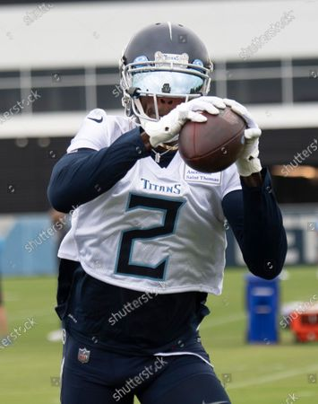 Stock Photo of Tennessee Titans wide receiver Julio Jones pulls in a pass during an NFL football practice, in Nashville, Tenn
