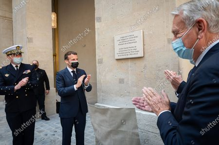 Jean-Marc Ayrault, Emmanuel Macron, President of the Republic, at the inauguration of the Hotel de la Marine  Unveiling inaugural plate