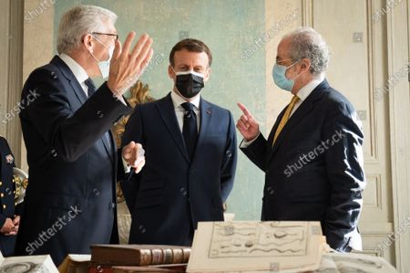 Stock Photo of Jean-Marc Ayrault, Emmanuel Macron, President of the Republic, at the inauguration of the Hotel de la Marine