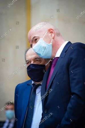Stock Photo of Noel Le Graet, President of the French Football Federation and Gianni Infantino, President of FIFA.