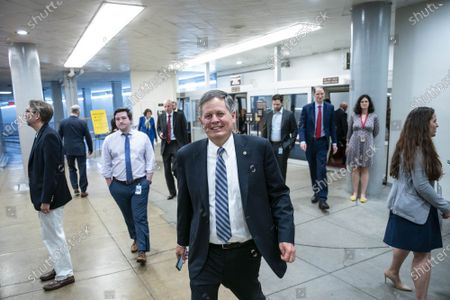 Senator Steve Daines, R-MT, walks through the Senate subway to the Senate floor at the U.S. Capitol in Washington DC, on Thursday, June 10, 2021. Senators voted to confirm Zahid N. Quraishi to be US District Judge for the District of New Jersey.