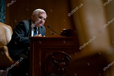 United States Senator Jack Reed (Democrat of Rhode Island) speaks during a Senate Appropriations Subcommittee on Commerce, Justice, Science, and Related Agencies hearing at the Dirksen Senate Office building in Washington.