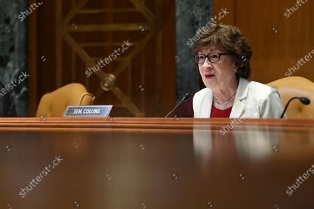 WASHINGTON, DC - JUNE 10: United States Senator Susan Collins (Republican of Maine) speaks as United States Secretary of Housing and Urban Development, Marcia Fudge appears during a Senate appropriations budget hearing with the Subcommittee on Transportation, Housing and Urban Development and related agencies at the Dirksen Senate Office Building in Washington, DC.
