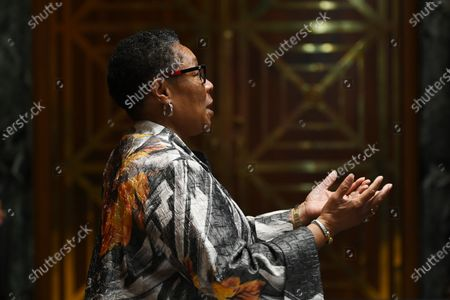 WASHINGTON, DC - JUNE 10: United States Secretary of Housing and Urban Development, Marcia Fudge is seen before a Senate appropriations budget hearing with the Subcommittee on Transportation, Housing and Urban Development and related agencies at the Dirksen Senate Office Building in Washington, DC.