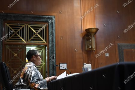 WASHINGTON, DC - JUNE 10: United States Secretary of Housing and Urban Development, Marcia Fudge appears during a Senate appropriations budget hearing with the Subcommittee on Transportation, Housing and Urban Development and related agencies at the Dirksen Senate Office Building in Washington, DC.