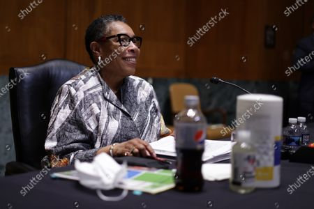 WASHINGTON, DC - JUNE 10: U.S. Secretary of House and Urban Development Secretary Marcia Fudge testifies during a hearing before Transportation, Housing and Urban Development, and Related Agencies Subcommittee of Senate Appropriations Committee at Dirksen Senate Office Building on Capitol Hill in Washington, DC. The subcommittee held the hearing to review President Joe Biden's FY2022 budget request for HUD.