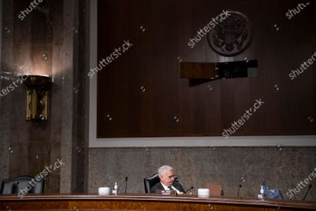 United States Senator Jack Reed (Democrat of Rhode Island), Chairman, US Senate Committee on Armed Services sits alone prior to a Senate Committee on Armed Services hearing to examine the Department of Defense budget posture in review of the Defense Authorization Request for fiscal year 2022, in the Dirksen Senate Office Building in Washington, DC,.