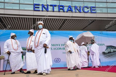 Members of the Lagos traditional chiefs arriving at the venue of the newly commissioned Mobolaji Johnson Railway Station in Ebutemeta, Lagos, Nigeria, on June 10, 2021. President Muhammadu Buhari on Thursday visited Lagos for the inauguration of the 157-kilometer Lagos-Ibadan standard rail project at the Mobolaji Johnson railway station in Ebutte Metta. The Construction which started in March 2017, and test-running commenced in December 2020. The Ebute Metta Station, known as the Mobolaji Johnson Station, is the largest railway station in West Africa with a holding capacity of 6000 passengers A statement from the precedential aide ''''Femi Adesina''.  ''President Buhari is committed to developing a modern national railway network that will connect every part of Nigeria, and promote trade, travel, tourism, commerce and national integration.''