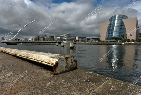 A view along Dublin's North Quays, including Samuel Beckett bridge, the PWC offices and the Convention Center.On Thursday, 10 June 2021, in Dublin, Ireland.