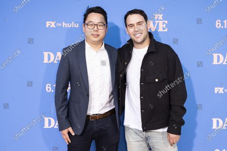 US producer James Shin (R) and US executive Scooter Braun pose on the red carpet prior to the premiere of the season two of FX television show 'Dave' at The Greek Theater in Los Angeles, California, USA, 10 June 2021. 'Dave' season 2 will be available to stream on FX on 11 June.