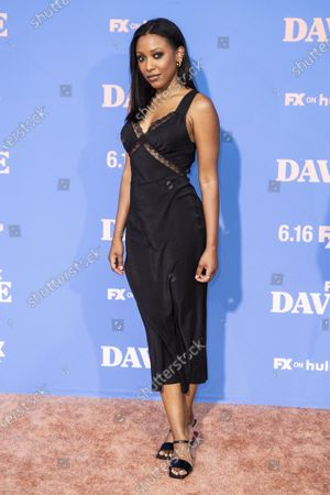 Meagan Holder poses on the red carpet prior to the premiere of the season two of FX television show 'Dave' at The Greek Theater in Los Angeles, California, USA, 10 June 2021. 'Dave' season 2 will be available to stream on FX on 11 June.