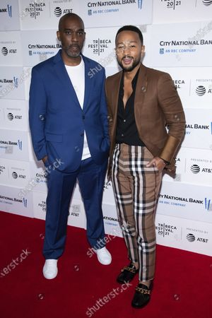 """Mike Jackson, left, and John Legend attend the screening for """"Legend of the Underground"""" during the 2021 Tribeca Film Festival at Brookfield Place, in New York"""