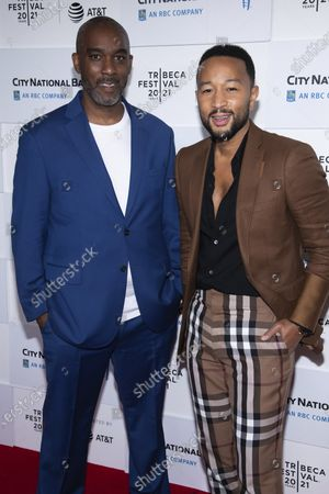 """Stock Photo of Mike Jackson, left, and John Legend attend the screening for """"Legend of the Underground"""" during the 2021 Tribeca Film Festival at Brookfield Place, in New York"""