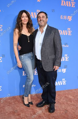 Jeff Schaffer, Jackie Marcus Schaffer attend the Season Two Red Carpet event for FXX's 'DAVE' at the Greek Theater