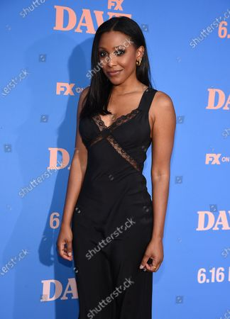 Meagan Holder attends the Season Two Red Carpet event for FXX's 'DAVE' at the Greek Theater