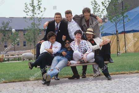 Standing: left to right: Craig Charles, Paul Thompson, Robert Sandall seated: Rowland Rivron, Geoffrey Cantor, Angie Clarke, Kim Newman