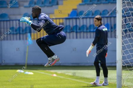 Switzerland's goalkeeper Yvon Mvogo (L) and Switzerland's goalkeeper Yann Sommer (R) in action during a training session prior to the UEFA EURO 2020 soccer tournament at the Dalga Arena, in Baku, Azerbaijan, 11 June 2021. The Swiss national soccer team will play Wales in Group A on Saturday during the UEFA EURO 2020 soccer championship in Azerbaijan.