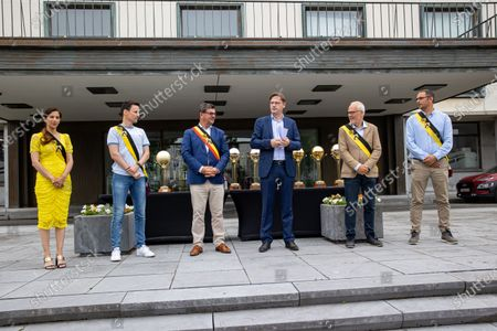 Oostende's alderwoman Hina Bhatti, Oostende's alderman Björn Anseeuw, Oostende's Mayor Bart Tommelein, Oostende's chairman Johan Verborgh, Oostende's alderman Bart Plasschaert and Oostende's alderman Kurt Claeys pictured during a reception at the Oostende city hall for the 22nd Belgian champion title of BC Oostende, the tenth in a row, Friday 11 June 2021 in Oostende.