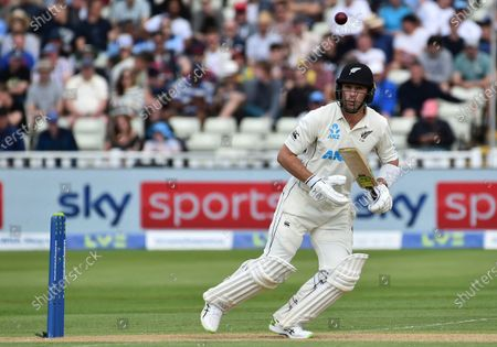 New Zealand's Will Young bats during the second day of the second cricket test match between England and New Zealand at Edgbaston in Birmingham, England