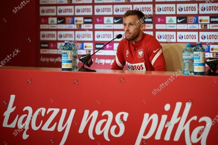 Polish national soccer team player Maciej Rybus addresses the media during a press conference in Gdansk, north Poland, 11 June 2021. Poland is preparing for the UEFA EURO 2020 tournament and will face Spain, Sweden and Slovakia in their Group E stage.
