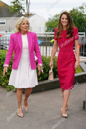 Catherine Duchess of Cambridge and Jill Biden visit to Connor Downs Academy, Cornwall