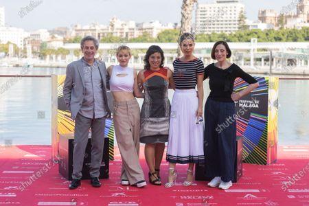 Claudia Pinto (C) poses with cast members  Alfredo Castro, Maria Romanillos, Juana Acosta and Carme Elias after the presentation of the film 'Las Consecuencias', during the Malaga Film Festival, in Malaga, Spain, 11 June 2021.