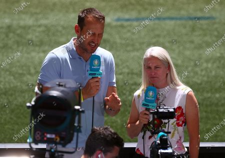 Mark Schwarzer and Alicia Ferguson working for Optus Sports