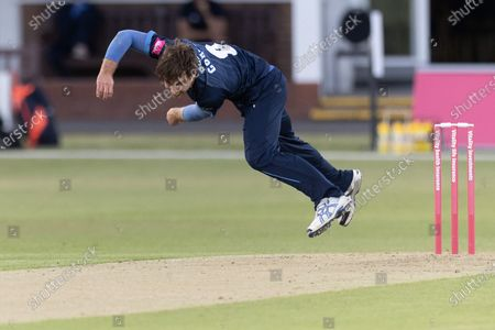 Michael Cohen bowling during the Vitality T20 Blast North Group match between Leicestershire Foxes  and Derbyshire Falcons at the Uptonsteel County Ground, Leicester