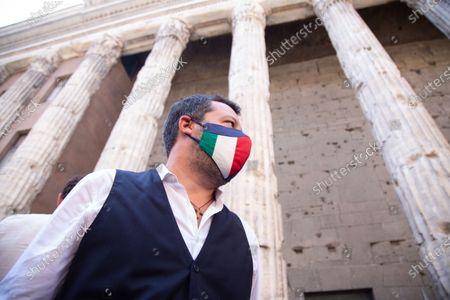 Leader of Fratelli d'Italia Giorgia Meloni, leader of Lega Matteo Salvini and vice-president of Forza Italia Antonio Tajani presented center-right candidate for Mayor of Rome, Enrico Michetti together with magistrate Simonetta Matone who will be deputy mayor candidate.
