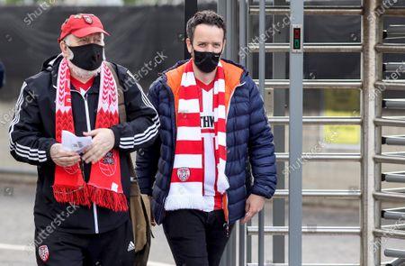 Derry City vs Bohemians. Derry City fans Tony Brown and Declan Shiels arrive