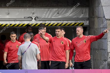 Belgium's Leandro Trossard, Belgium's Leander Dendoncker and Belgium's goalkeeper Matz Sels pictured at a training session of the Belgian national soccer team Red Devils, in Saint-Petersbourg, Russia, Friday 11 June 2021. The team is playing tomorrow their first game of the group stage (group B) at the Euro 2020 European Championship.