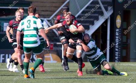 Jackson Wray of Saracens is tackled