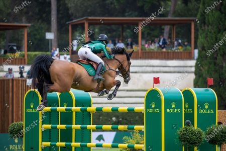 Stock Picture of Malin Baryard-Johnsson (SWE) ride H&M INDIANA during the Rolex Grand Prix Rome at 88th CSIO 5° Master D'Inzeo at Piazza di Siena on May 30, 2021 in Rome, Italy.