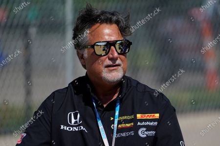 Stock Image of Michael Andretti looks on during practice for the IndyCar Detroit Grand Prix auto racing doubleheader on Belle Isle in Detroit