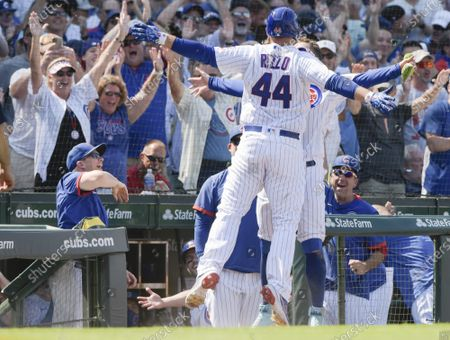 Chicago Cubs Anthony Rizzo (44) celebrates his 6th inning home run against the St. Louis Cardinals with Joc Pederson (24) at Wrigley Field on Friday, June 11, 2021. The Chicago Cubs were able to host fans at 100% capacity in Wrigley Field for the first time since September 22, 2019, which was also against the Cardinals. The Chicago Cubs defeated the St. Louis Cardinals 8-5.