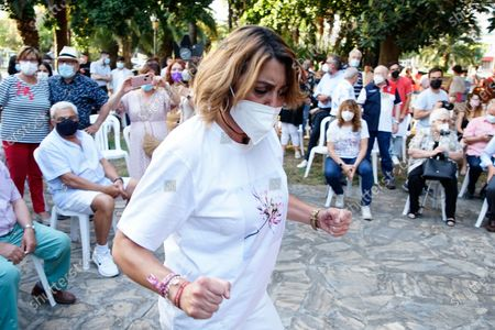 Candidate to General Secretary of PSOE Andalucia Party, Susana Diaz seen dancing during a meeting at Jardines de Picasso in Malaga.