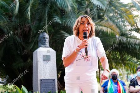 Stock Picture of Candidate to General Secretary of PSOE Andalucia Party, Susana Diaz speaks during a meeting at Jardines de Picasso in Malaga.