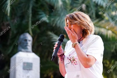 Stock Image of Candidate to General Secretary of PSOE Andalucia Party, Susana Diaz speaks during a meeting at Jardines de Picasso in Malaga.