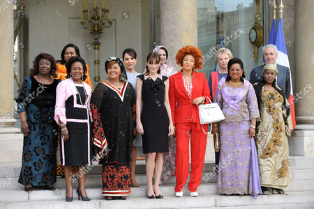 Central African Republic First Lady Monique Bozize, Congolese First Lady Antoinette Sassou Nguesso, Benin First Lady Chantal de Souza Yayi, Burkina Faso First Lady Chantal Campaore, Gabon First Lady Sylvia Bongo Ondimba, French First Lady Carla Bruni-Sarkozy, Mauritania First Lady Tekber Mint Melainine Ould Ahmed, Cameroon First Lady Chantal Biya, Senegal First Lady Viviane Wade, Mali First Lady Lobbo Traore Toure, Niger First Lady Fati Alzouima Djibo Salou and Michel Kazatchkine, Executive Director of the Global Fund to fight AIDS