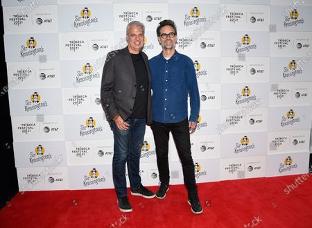 """Chef Eric Ripert, left, and director Michael Steed attend the """"Fries! The Movie"""" premiere during the 20th Tribeca Festival at Brookfield Place, in New York"""